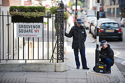 © licensed to London News Pictures. London, UK.  11/09/2011.  Police perform security searches on Grosvenor Square today (11/09/2011) the location of the U.S embassy. A service is being held at the 9/11 memorial outside the U.S Embassy in London today (11/09/2011) to mark the 10th anniversary of the attack ono the Twin Towers in New York, in which over 2800 people died. Photo credit: Ben Cawthra/LNP