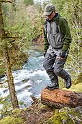 Rob Williamson hikes an angler's trail. Cowichan River, Vancouver Island, BC