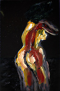 Standing fat nude woman as seen from behind. Photograph of an Acrylic painting by Vladi Alon. Property release available