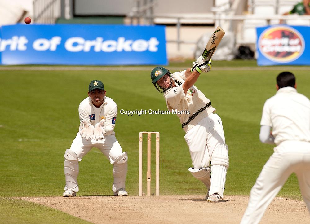 Steve Smith off Danish Kaneria during the second MCC Spirit of Cricket Test Match between Pakistan and Australia at Headingley, Leeds.  Photo: Graham Morris (Tel: +44(0)20 8969 4192 Email: sales@cricketpix.com) 23/07/10