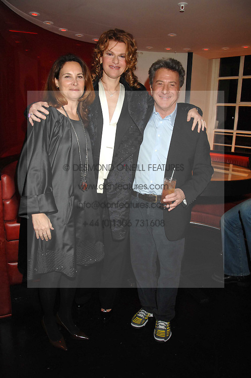 Left to right, LISA HOFFMAN, actress SANDRA BERNHARDT andaActor DUSTIN HOFFMAN at the launch party of Lisa Hoffman's new bath and shower range, held at Harvey Nichols, Knightsbridge, London on 23rd October 2007. <br />