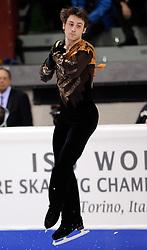 25.03.2010, Torino Palavela, Turin, ITA, ISU World Figure Skating Championships Turin 2010, Männer Kurzprogramm, im Bild, Brian Joubert (FRA) bronze Medaille, EXPA Pictures © 2010, PhotoCredit: EXPA/ InsideFoto/ Perottino / SPORTIDA PHOTO AGENCY