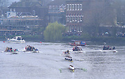 London. United Kingdom. 1998 Boat Race, Putney to Mortlake, Championship Course.  River Thames. 28.03.1998..Description: General views from Chiswick Bridge, as the Boat Race enters the closing stages of the race. ..Chiswick Bridge...Annual Varsity Boat Race - between Oxford University BC and Cambridge University BC. [Mandatory Credit; Peter Spurrier/Intersport-images]  ..Scanned in 2012 so has 2012  file No:.Rowing Varsity 2012 011116.jpg..Oxford.Bow - Charles.P.A.Humphreys,  J.B.Roycroft, J.Hecht, H.K.Nilsson, Edward.R.Coode, Andrew.J.R.Lindsay,  P.A.Berger, stroke - Nicholas J.Robinson, cox - Alex Greaney. .Cambridge.Bow - Graham.Smith,  P.A.Cunningham, J.G.Bull, Brad.Crombie, T.J.Wallace,  Alex Story,  Stefan F.Forster,  stroke - Marc.Weber, cox - Alistair J.Potts... 19980328 University, Varsity,  Boat Race. London. UK