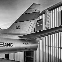 A vintage American military plane in front of the Museum of Flying located at the Santa Monica Airport in Santa Monica, California.