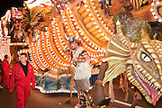 Photograph of some performers on The Odyssey by Masqueraders CC at Glastonbury and Chilkwell Guy Fawkes Carnival, 2010.