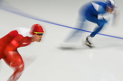 February 23, 2018 - Pyeongchang, Gangwon, South Korea - Chung Jaewoong of South Korea and Sebastian Klosinski of Poland at 1000 meter speedskating at winter olympics, Gangneung South Korea on February 23, 2018. (Credit Image: © Ulrik Pedersen/NurPhoto via ZUMA Press)