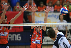Alen Pajenk, Matija Plesko of ACH vs Jernej Potocnik at last final volleyball match of 1.DOL Radenska Classic between OK ACH Volley and Salonit Anhovo, on April 21, 2009, in Arena SGS Radovljica, Slovenia. ACH Volley won the match 3:0 and became Slovenian Champion. (Photo by Vid Ponikvar / Sportida)