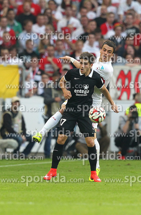 09.05.2015, Mercedes Benz Arena, Stuttgart, GER, 1. FBL, VfB Stuttgart vs 1. FSV Mainz 05, 32. Runde, im Bild Jairo Samperio ( 1.FSV Mainz 05 ) hinten Filip Kostic ( VfB Stuttgart ) // during the German Bundesliga 32th round match between VfB Stuttgart and 1. FSV Mainz 05 at the Mercedes Benz Arena in Stuttgart, Germany on 2015/05/09. EXPA Pictures &copy; 2015, PhotoCredit: EXPA/ Eibner-Pressefoto/ Langer<br /> <br /> *****ATTENTION - OUT of GER*****