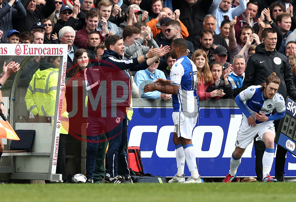Bristol Rovers manager Darrell Clarke congratulates Jermaine Easter of Bristol Rovers as he is substituted - Mandatory by-line: Gary Day/JMP - 30/04/2017 - FOOTBALL - Memorial Stadium - Bristol, England - Bristol Rovers v Millwall - Sky Bet League One