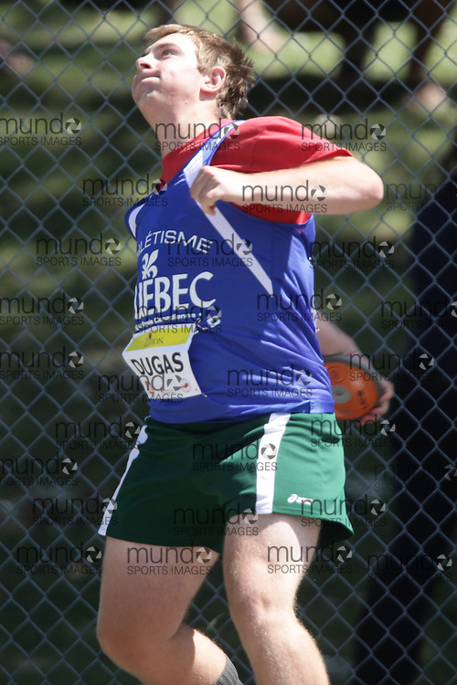Ottawa, Ontario ---10-08-07--- Dugas competes in the discus at the 2010 Royal Canadian Legion Youth Track and Field Championships in Ottawa, Ontario August 7, 2010..GEOFF ROBINS/Mundo Sport Images.
