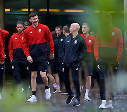CARDIFF, WALES - Sunday, October 13, 2019: Wales' Kieffer Moore (L) and physiotherapist Paul Harris during a pre-match team walk at the Vale Resort ahead of the UEFA Euro 2020 Qualifying Group E match between Wales and Croatia. (Pic by David Rawcliffe/Propaganda)