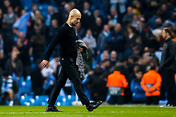 Manchester City manager Pep Guardiola cuts a dejected figure - Mandatory by-line: Robbie Stephenson/JMP - 17/04/2019 - FOOTBALL - Etihad Stadium - Manchester, England - Manchester City v Tottenham Hotspur - UEFA Champions League Quarter Final 2nd Leg