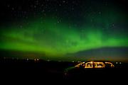 Northern lights (Aurora borealis) and automobile<br /> Indian Head<br /> Saskatchewan<br /> Canada