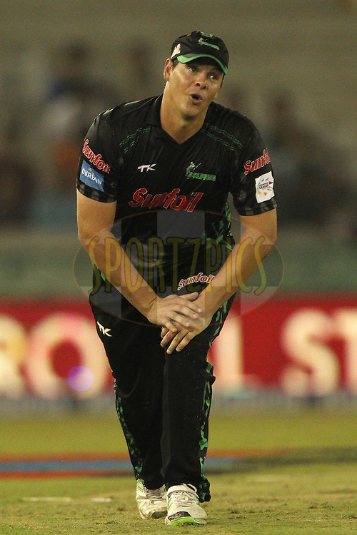 Robert FRYLINCK  of the Dolphins reacts after a missed opportunity during match 4 of the Oppo Champions League Twenty20 between the Dolphins and the Perth Scorchers held at the Punjab Cricket Association Stadium, Mohali, India on the 20th September 2014<br /> <br /> Photo by:  Ron Gaunt / Sportzpics/ CLT20<br /> <br /> <br /> Image use is subject to the terms and conditions as laid out by the BCCI/ CLT20.  The terms and conditions can be downloaded here:<br /> <br /> http://sportzpics.photoshelter.com/gallery/CLT20-Image-Terms-and-Conditions-2014/G0000IfNJn535VPU/C0000QhhKadWcjYs