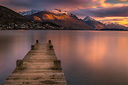 Sunset glow at Lake Wakatipu, New Zealand