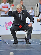 CENTRAL LONDON To celebrate two years to go until the 2012 Paralympic Games begin in London, the Mayor and Paralympians try their hand at the unique Paralympic sport of Boccia.  Played on a full size Boccia court in Trafalgar Square,the game, similar to bowls, was created especially for athletes with severe disabilities. .  23 August 2010. STEPHEN SIMPSON..