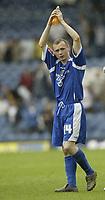 Photo: Aidan Ellis.<br /> Leeds United v Cardiff City. Coca Cola Championship. 19/08/2006.<br /> Cardiff match winner Willo Flood cdelebrates at the end