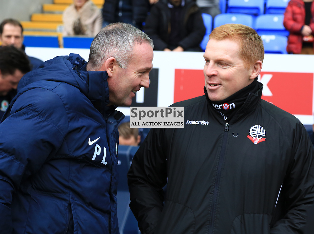 Ex Celtic Legends Paul Lambert and Neil Lennon shake hands and share a joke before the Bolton Wanderers FC v Blackburn Rovers FC Sky Bet Championship 28th December 2015 (c) EDDIE LINTON | SportPix.org.uk