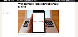 The Sunday Times; Worldpay logo on smart phone screen