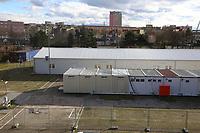 Ludwigshafen. 09.03.17 | BILD- ID 025 |<br /> Messplatz. Seit Oktober 2015 wurden hier Fl&uuml;chtlinge in Notunterk&uuml;nften untergebracht. In Winterfesten Zelten wurden den meist m&auml;nnlichen Fl&uuml;chtlingen eine Unterkunft geboten. <br /> Mittlerweile wurden zwei Zelte und mehrere Container abgebaut.<br /> Bild: Markus Pro&szlig;witz 09MAR17 / masterpress (No Modelrelease!)