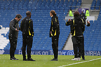 Football - 2016 / 2017 Sky Bet Championship - Brighton & Hove Albion vs. Burton Albion<br /> <br /> Burton Albion Manager Nigel Clough chats about the snowy conditions to some of his players at the Amex Stadium Brighton<br /> <br /> COLORSPORT/SHAUN BOGGUST