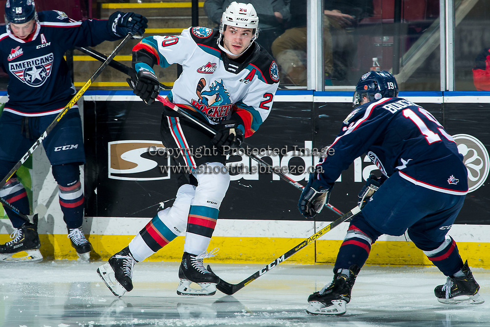 KELOWNA, BC - FEBRUARY 12: Matthew Wedman #20 of the Kelowna Rockets skates for the puck against the Tri-City Americans at Prospera Place on February 8, 2020 in Kelowna, Canada. Wedman was selected in the 2019 NHL entry draft by the Florida Panthers. (Photo by Marissa Baecker/Shoot the Breeze)