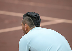 April 13, 2018 - Houston, TX, U.S. - HOUSTON, TX - APRIL 13:  Nick Kyrgios of Australia waits the for serve in the match against Ivo Karlovic of Croatia during the Quarterfinal round of the Men's Clay Court Championship on April 13, 2018 at River Oaks Country Club in Houston, Texas.  (Photo by Leslie Plaza Johnson/Icon Sportswire) (Credit Image: © Leslie Plaza Johnson/Icon SMI via ZUMA Press)