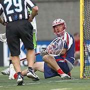 Jordan Burke #5 of the Boston Cannons reacts to a call during the game at Harvard Stadium on July 19, 2014 in Boston, Massachusetts. (Photo by Elan Kawesch)