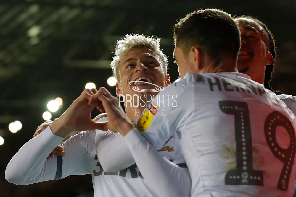 Leeds United defender Ezgjan Alioski (10) scores a goal and celebrates to make the score 2-0 during the EFL Sky Bet Championship match between Leeds United and Hull City at Elland Road, Leeds, England on 10 December 2019.