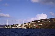 boats anchored in harbor; buildings on hillside; island scene; Leverick Bay; Virgin Gorda; British Virgin Islands