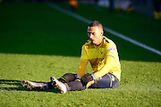 Oxford United Midfielder Kemar Roofe  is left on the ground  during the The FA Cup Fourth Round match between Oxford United and Blackburn Rovers at the Kassam Stadium, Oxford, England on 30 January 2016. Photo by Dennis Goodwin.