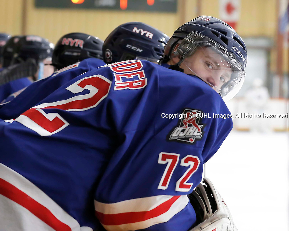 TRENTON, ON - JAN 25,  2017: Ontario Junior Hockey League action game between North York and Buffalo at the 2017 Winter Showcase, Jett Alexander #72 of the North York Rangers<br /> (Photo by Amy Deroche / OJHL Images)