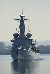 Pictured: Louise-Marie (F931) is a Karel Doorman-class frigate of the Marine Component of the Belgian Armed Forces<br /> Ships involved in Exercise Joint Warrior, a major bi-annual multi-national military exercise which takes place in the United Kingdom. leave King George The V Docks at Shieldhall Glasgow heading up the Clyde by Braehead.  One of the largest military exercises in Europe, Joint Warrior will see maritime activity from units from Denmark, Belgium, Estonia, France, Germany, the Netherlands, Norway, Spain, Sweden, the UK and the US.<br /> <br /> Stephen Smyth| EEm 27 March 2017
