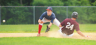 Yardley Western second baseman Matthew Grudza awaits the throw as Falls Shaughn Wright #24 slides safely into second base in the 3rd inning at Neshaminy High School Sunday July 5, 2015 in Langhorne, Pennsylvania. (Photo by William Thomas Cain)