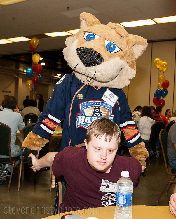 October 16, 2012: The Oklahoma City Barons meet and play with their Barons Buddies at the Cox Convention Center in Oklahoma City.