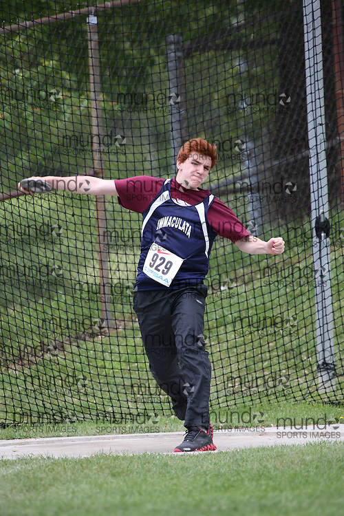Michael Lamadeleine of Immaculata HS - Ottawa competes in the midget boys discus at the 2013 OFSAA Track and Field Championship in Oshawa Ontario, Thursday,  June 6, 2013.<br /> Mundo Sport Images / Sean Burges