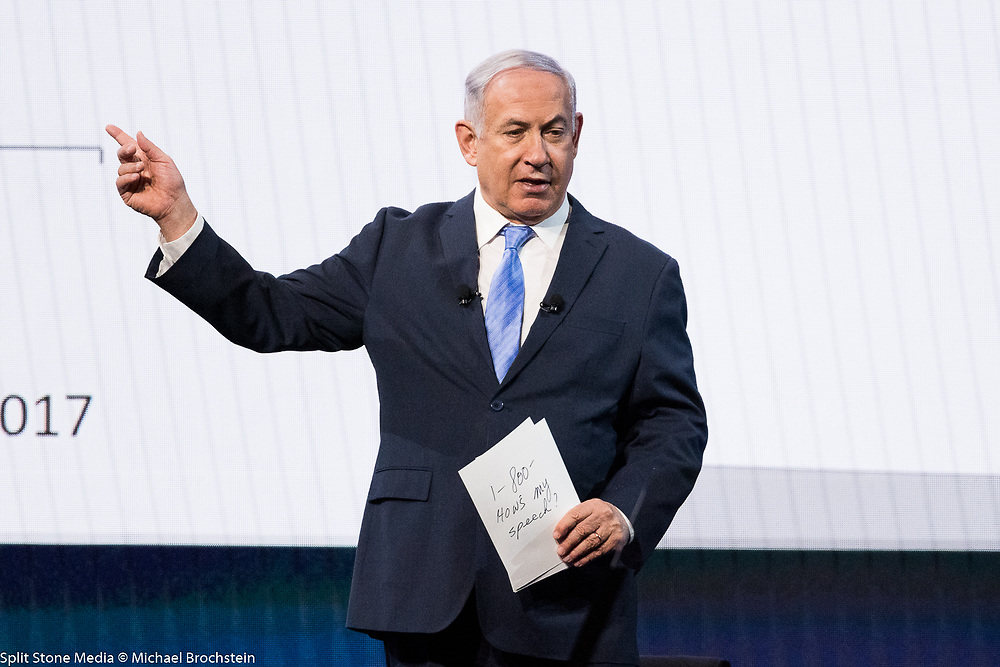 """Benjamin """"Bibi"""" Netanyahu, Prime Minister of Israel, speaking at the AIPAC (American Israel Public Affairs Committee) Policy Conference at the Walter E. Washington Convention Center in Washington, DC on March 6, 2018"""