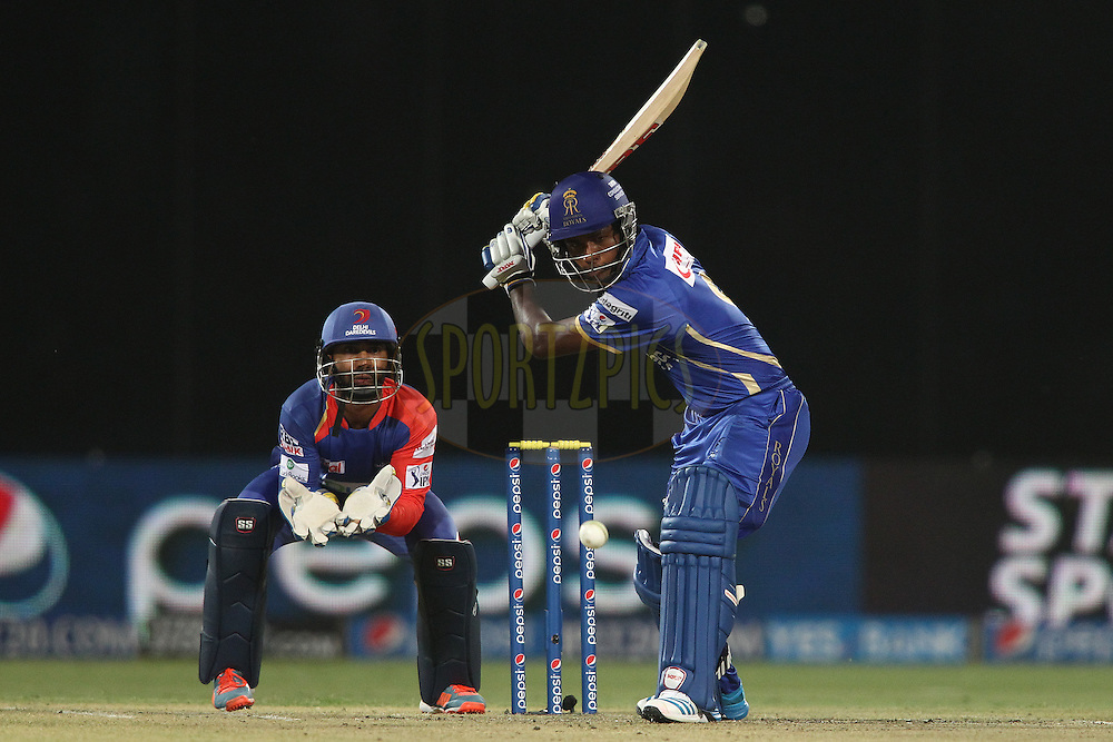 Sanju Samson of the Rajasthan Royals looks to attack a delivery during match 23 of the Pepsi Indian Premier League Season 2014 between the Delhi Daredevils and the Rajasthan Royals held at the Feroze Shah Kotla cricket stadium, Delhi, India on the 3rd May  2014<br /> <br /> Photo by Shaun Roy / IPL / SPORTZPICS<br /> <br /> <br /> <br /> Image use subject to terms and conditions which can be found here:  http://sportzpics.photoshelter.com/gallery/Pepsi-IPL-Image-terms-and-conditions/G00004VW1IVJ.gB0/C0000TScjhBM6ikg