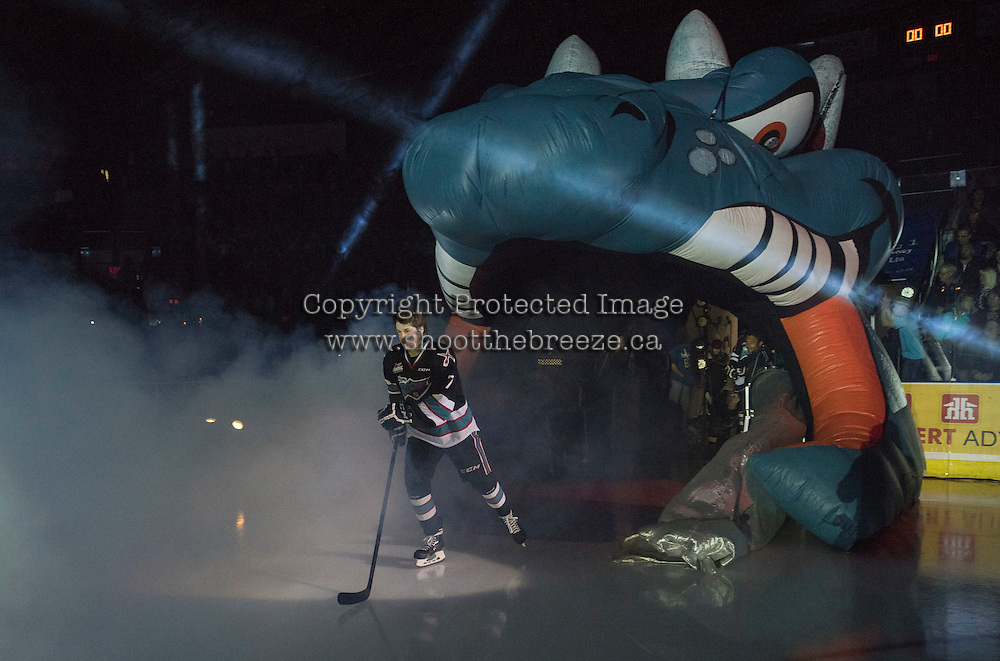 KELOWNA, CANADA - SEPTEMBER 25: Lucas Johansen #7 of Kelowna Rockets enters the ice during the season home opener against the Kamloops Blazers on September 25, 2015 at Prospera Place in Kelowna, British Columbia, Canada.  (Photo by Marissa Baecker/Shoot the Breeze)  *** Local Caption *** Lucas Johansen;