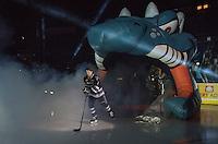 KELOWNA, CANADA - SEPTEMBER 25: Lucas Johansen #7 of Kelowna Rockets enters the ice during the season home opener against the Kamloops Blazers on September 25, 2015 at Prospera Place in Kelowna, British Columbia, Canada.  (Photo by Marissa Baecker/Shoot the Breeze)  *** Local Caption *** Lucas Johansen;