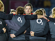 Abbie Scott during the warm up, England Women v Canada in an Autumn International match at The Stoop, Twickenham, London, England, on 21st November 2017 Final score 49-12