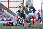 Bradford City's Dylan Connolly(19) is fouled by Plymouth Argyle's Antoni Sarcevic(7) during the EFL Sky Bet League 2 match between Bradford City and Plymouth Argyle at the Utilita Energy Stadium, Bradford, England on 29 February 2020.