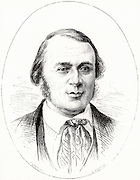 (Jean ) Louis (Rodolphe) Agassiz (1807-1873) Swiss-born American naturalist and glaciologist at the age of 40. Engraving from 'La Nature' (Paris, 1874).