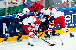 Ben Smith of USA and Mark Arcobello of USA against Petr Koukal of Czech Republic and Jakub Krejcik of Czech Republic during Ice Hockey match between USA and Czech Republic at Third place game of 2015 IIHF World Championship, on May 17, 2015 in O2 Arena, Prague, Czech Republic. Photo by Vid Ponikvar / Sportida