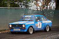 #41 Stuart Cogger / Mike Dawson Ford Escort  Bolton-le-Moors Blake securityduring Neil Howard Memorial Stage Rally, and opening round of the 2015 Motorsport News Rally Championship.  at Oulton Park, Little Budworth, Cheshire, United Kingdom. November 07 2015. World Copyright Peter Taylor. Copy of publication required for printed pictures.  Every used picture is fee-liable. http://archive.petertaylor-photographic.co.uk