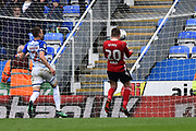 Goal - Freddie Sears (20) of Ipswich Town heads home the ball after charging down the clearance of Vito Mannone (1) of Reading to make the score 0-3 during the EFL Sky Bet Championship match between Reading and Ipswich Town at the Madejski Stadium, Reading, England on 28 April 2018. Picture by Graham Hunt.