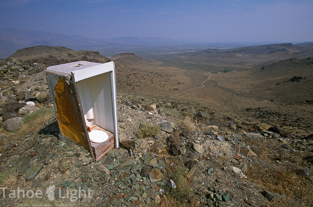 An outhouse with a view in the Calico Hills near the Black Rock desert near Gerlach, Nevada.