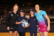 ANZ Future Captains Kowhai-Pearl Rumbal (L) and Tiari Gibson (R) pose with Magic captain Samantha Sinclair and Steel captain Wendy Frew ahead of the ANZ Premiership netball match - Magic v Steel played at Claudelands Arena, Hamilton, New Zealand on 9 July 2018.<br /> <br /> Copyright photo: © Bruce Lim / www.photosport.nz