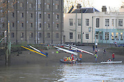 Chiswick,  GREAT BRITAIN,   GVs Barnes and Chiswick area, dawn before the Scullers Head of the River Race.  01/12/2007 [Mandatory Credit Peter Spurrier/Intersport Images]. Chiswick,  GREAT BRITAIN,   GVs Barnes and Chiswick area, dawn before the Scullers Head of the River Race.  01/12/2007 [Mandatory Credit Peter Spurrier/Intersport Images]. Single scull shells on the foreshore at Mortlake by the Ship Hotel. , Rowing Course: River Thames, Championship course, Putney to Mortlake 4.25 Miles,
