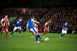 CHELTENHAM, ENGLAND - Monday, January 7, 2013: Everton's Leighton Baines scores the second goal against Cheltenham Town from the penalty spot during the FA Cup 3rd Round match at Whaddon Road. (Pic by David Rawcliffe/Propaganda)
